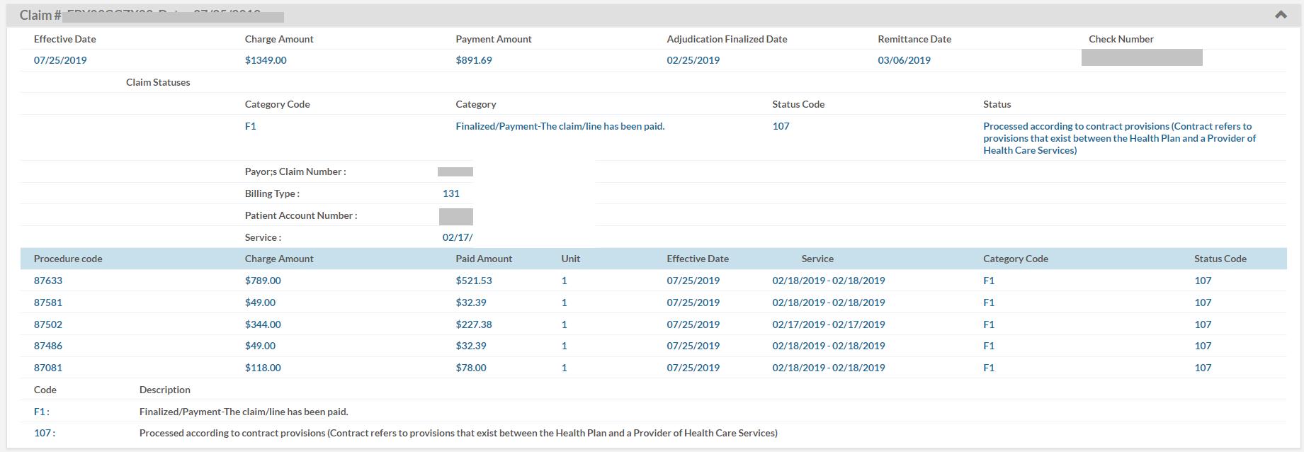 Claims Status Screenshot