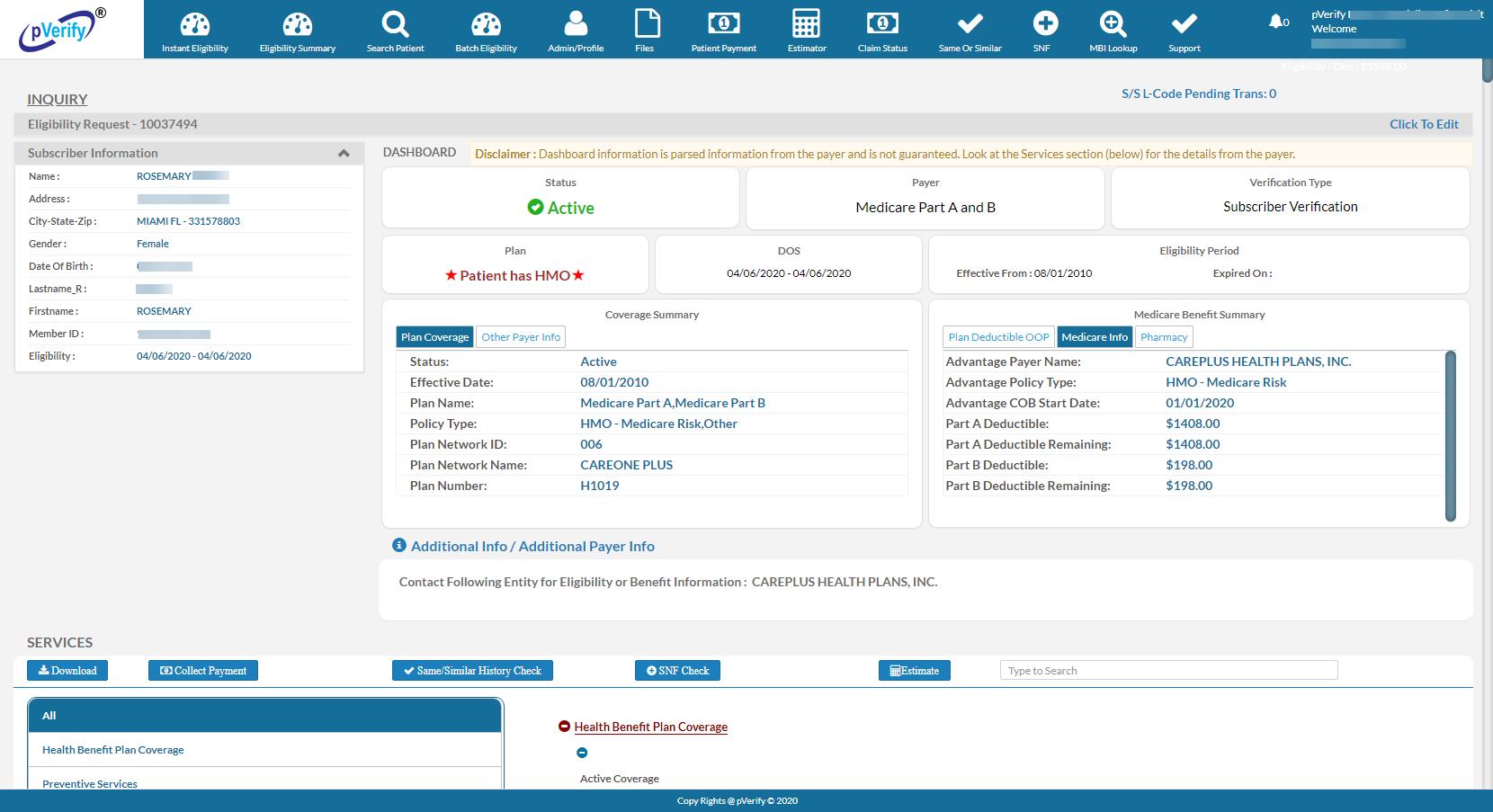 Medicare Patient Eligibility Instant Verification