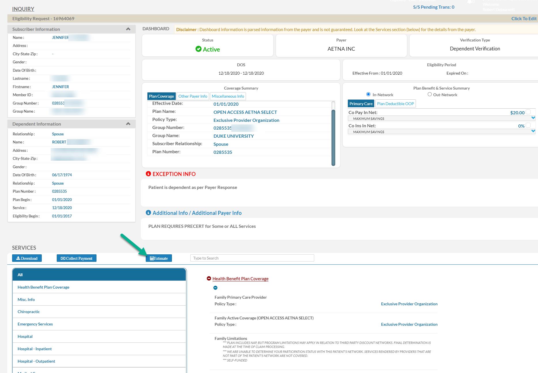 Patient Payment Estimation Software